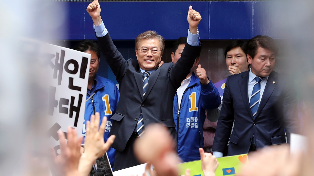 South Korea's presidential candidate Moon Jae-in of the Democratic Party
