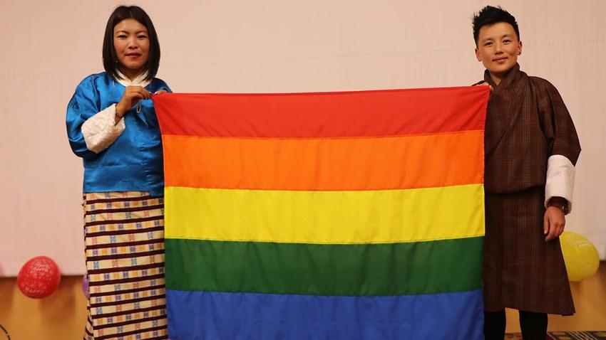 Members of the Rainbow Bhutan Celebrating Diversity group, Tshenam Jpl Chhoxin and Oogoo Sonam Dorjii.