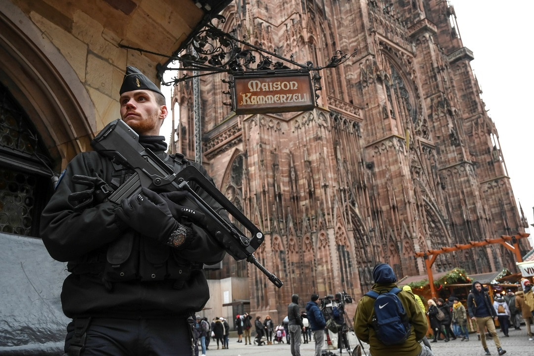 The Christmas market has reopened but a security presence still remains.