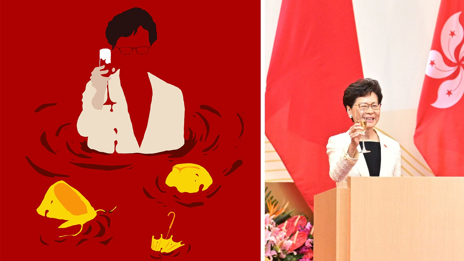 Carrie Lam's appearance at the handover ceremony was the first time she had been seen in public after an absence of more than 10 days.