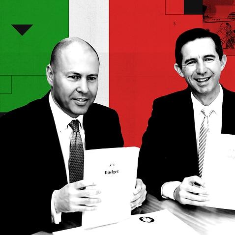 Treasurer Josh Frydenberg and Finance Minister Simon Birmingham present the 2021 federal budget.