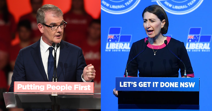 Gladys Berejiklian and Michael Daley clashed over stadiums and climate change but the Labor leader stumbled over funding questions