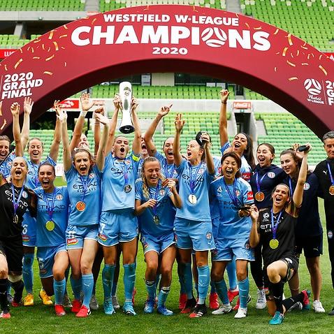Melbourne City players celebrate their 2019-20 W-League triumph