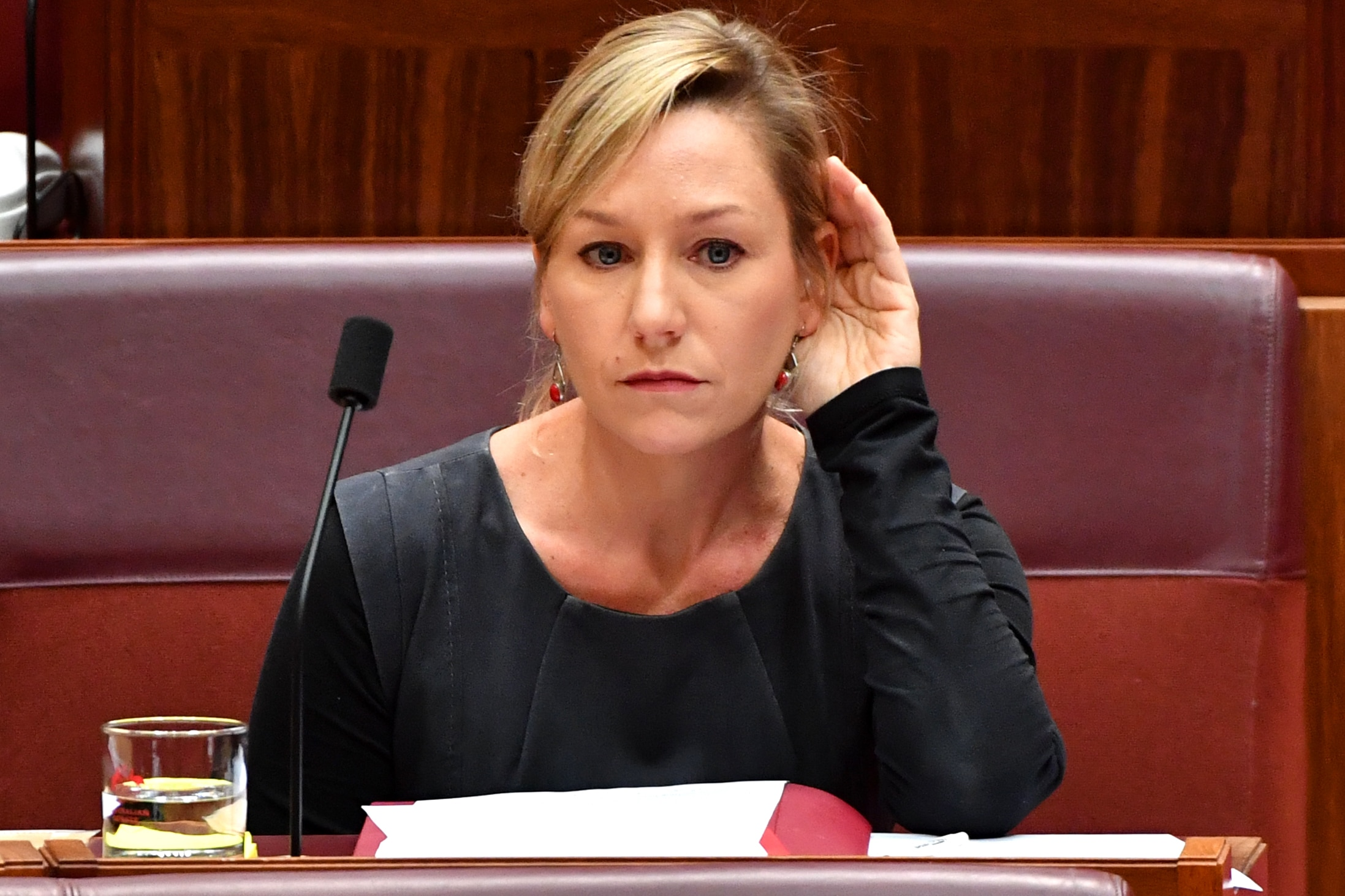 Greens Senator Larissa Waters in the Senate at Parliament House in Canberra.