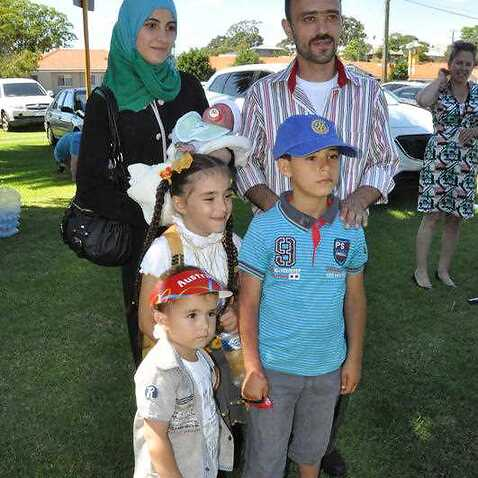 Bashar Kujah with his family, one of the first of Australia's resettled Syrian refugees.