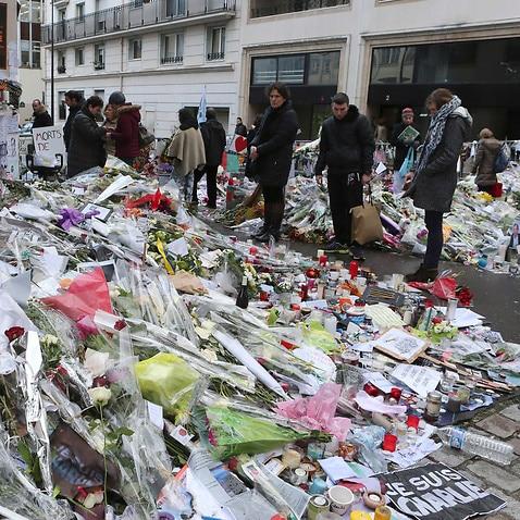 Flowers outside Charlie Hebdo headquarters in Paris
