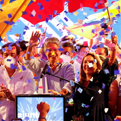 Guillermo Lasso celebrates his election win in Guayaquil.