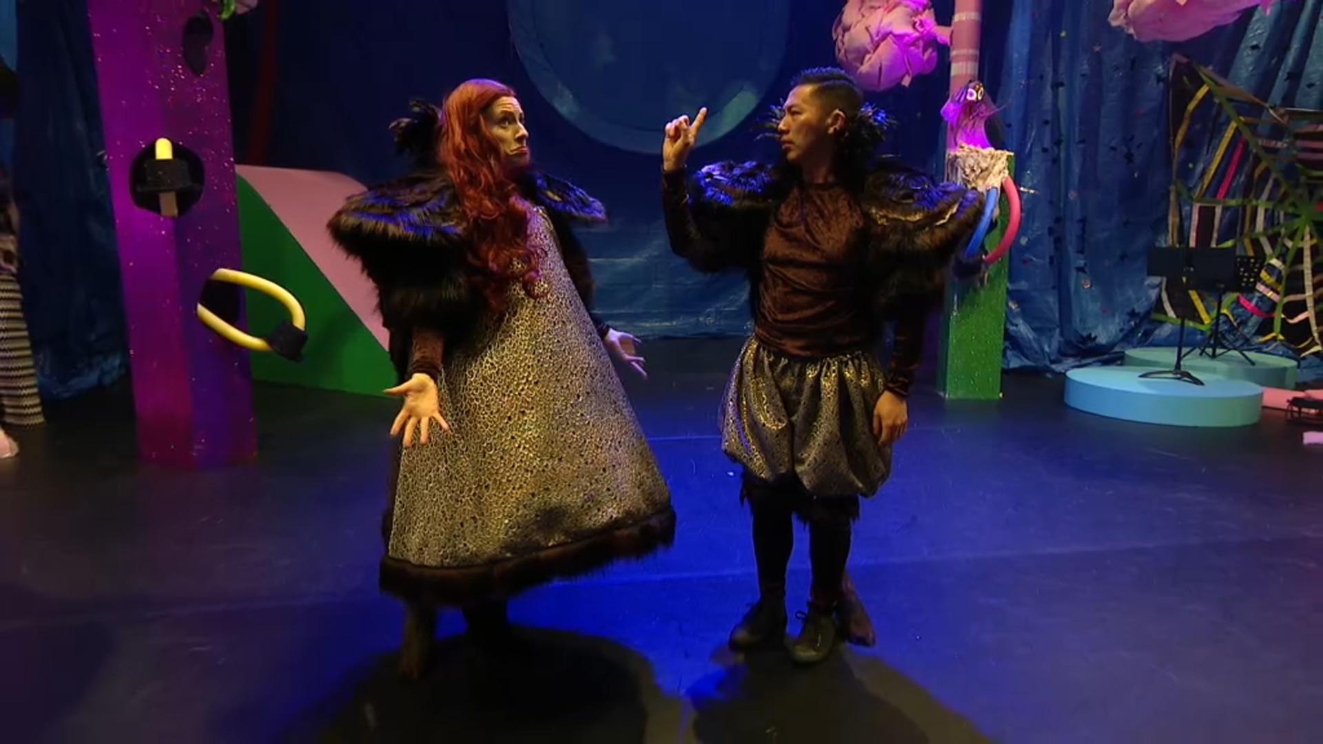 Performers Emma Watkins and Elvin Lam.