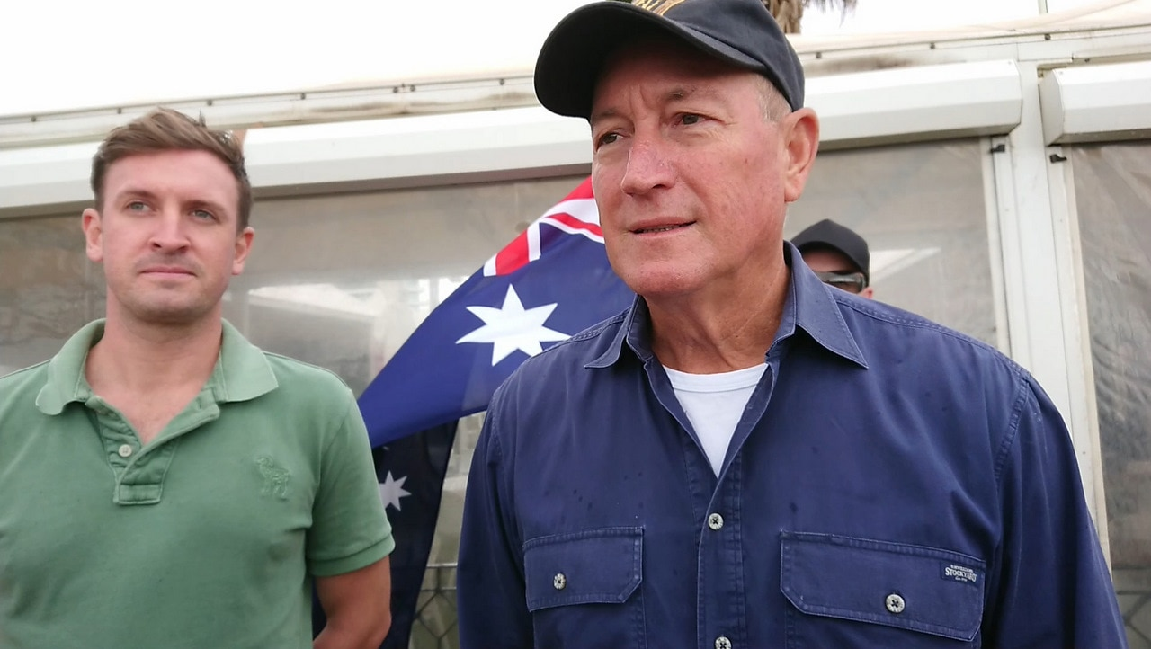 Independent Senator Fraser Anning attending a protest organised by Neil Erikson at St Kilda beach.