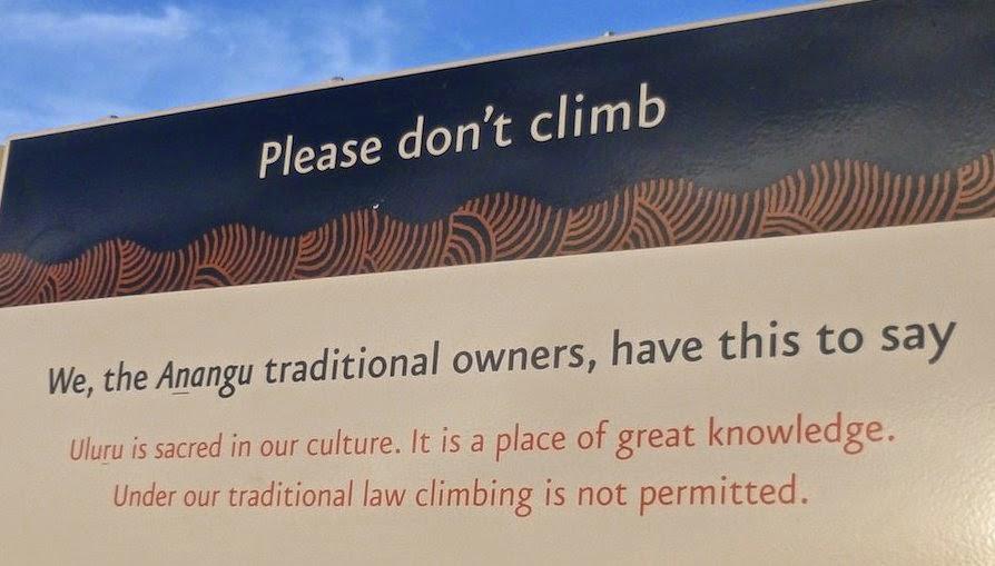 Please do not climb Uluru sign