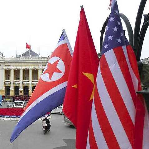 National flags ready for the upcoming Hanoi Summit of North Korea and USA.