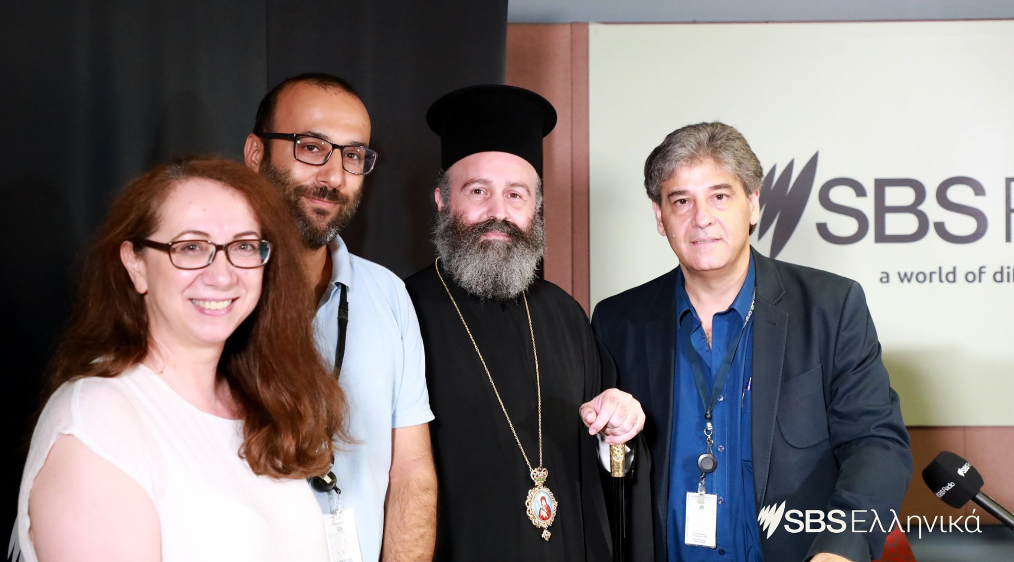 Archbishop Makarios at SBS offices in Sydney
