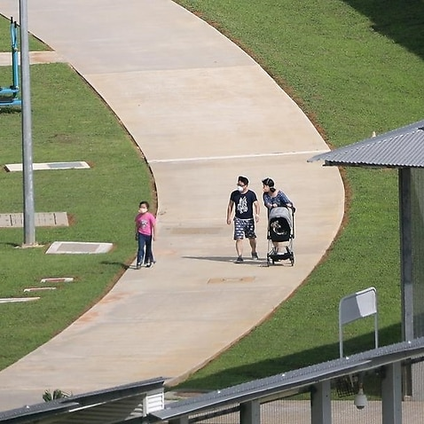 A family of virus evacuees at the Christmas Island detention centre.