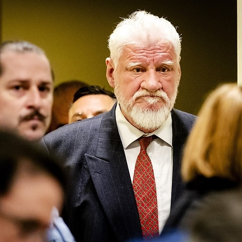 Croatian former general Slobodan Praljak arrives at the International Criminal Tribunal for the former Yugoslavia (ICTY)