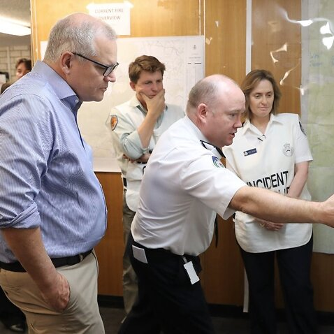 Prime Minister Scott Morrison visited the NSW RFS in Wilberforce on Sunday