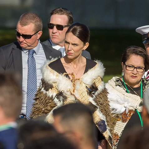New Zealand Prime Minister Jacinda Ardern at the National Remembrance Service.