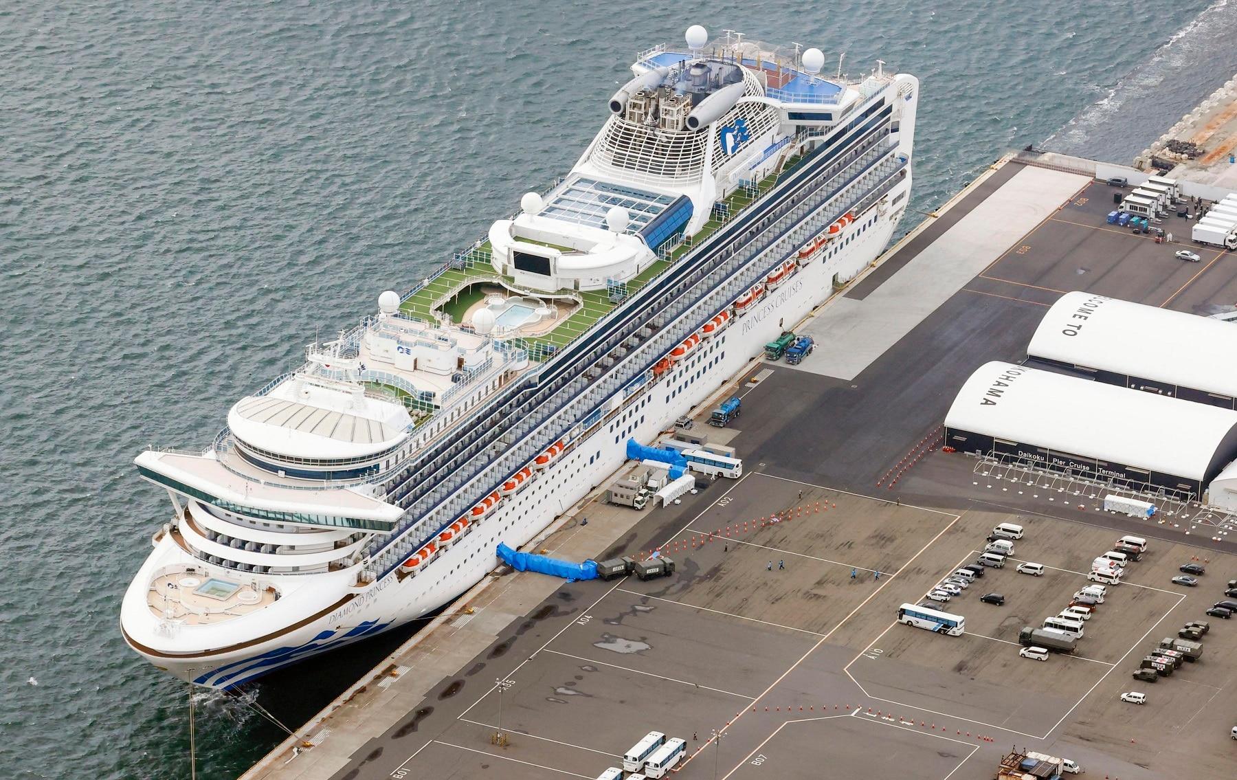The coronavirus-hit Diamond Princess cruise ship at Yokohama Port near Tokyo.