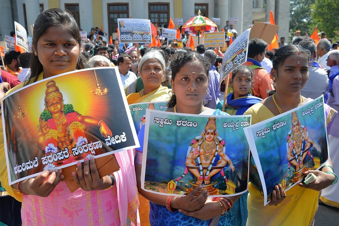 "Devotees of Hindu god Ayyappa call for a reversal of a Supreme Court decision to allow women of ""menstruating age"" into the Sabarimala Temple."