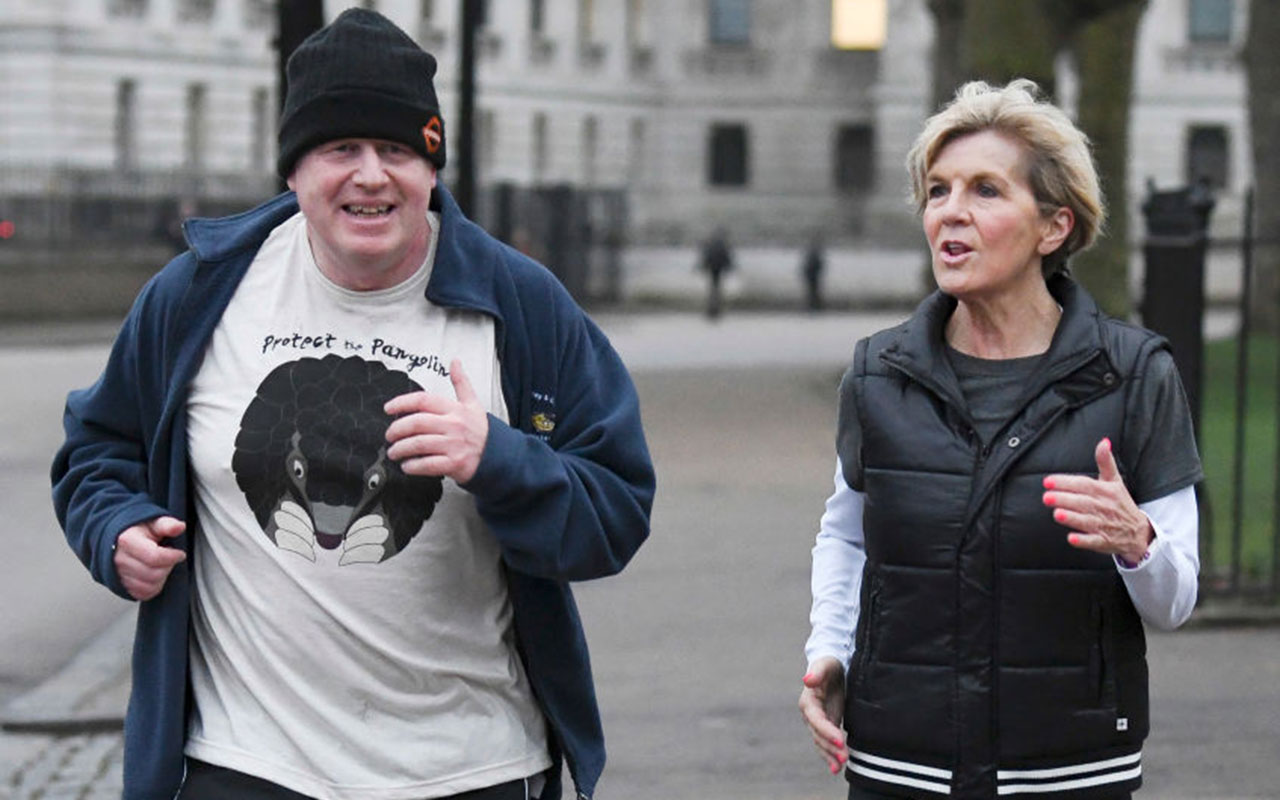 Boris Johnson takes an early morning jog with Julie Bishop on February 20, 2018.