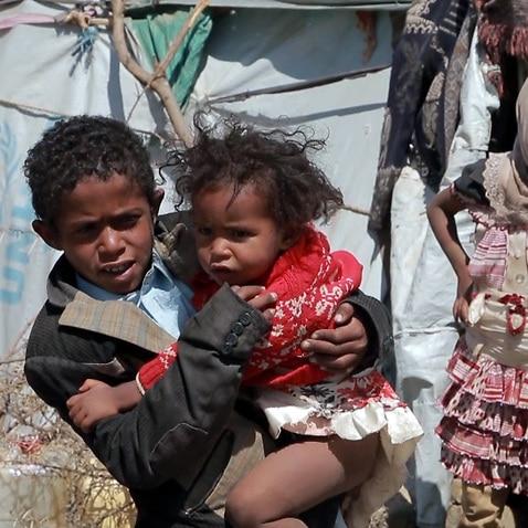 Yemeni children in a refugee camp.