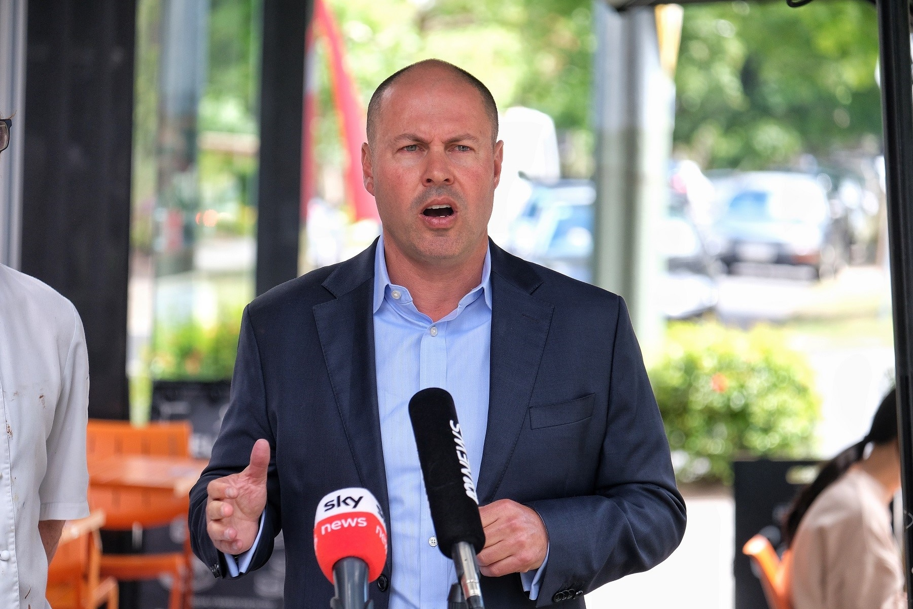 Treasurer Josh Frydenberg gives a media conference outside Zimt Bakery in Surrey Hills, Melbourne, Monday 18, January, 2021