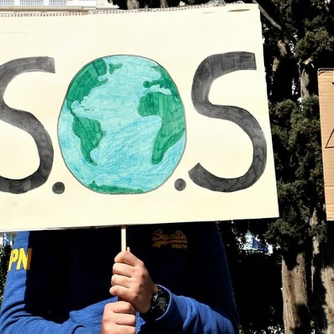 Students protest for the environment at Syntagma square in Athens
