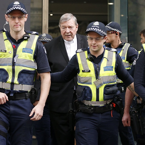 Australia's most senior Catholic Cardinal George Pell departs the County Court of Victoria in Melbourne, Wednesday, May 2, 2018.