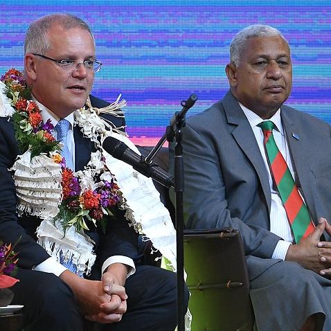 Prime Minister Scott Morrison with his Fijian counterpart Frank Bainimarama.