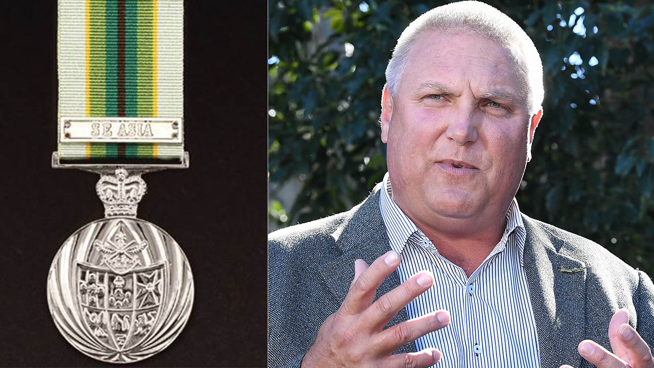 Trevor Ruthenberg says he accidentally listed the Australian Service Medal (left) on his list of achievements.