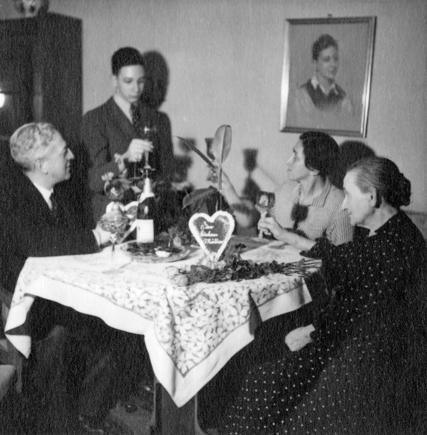 Bern Brent makes a toast in 1938.
