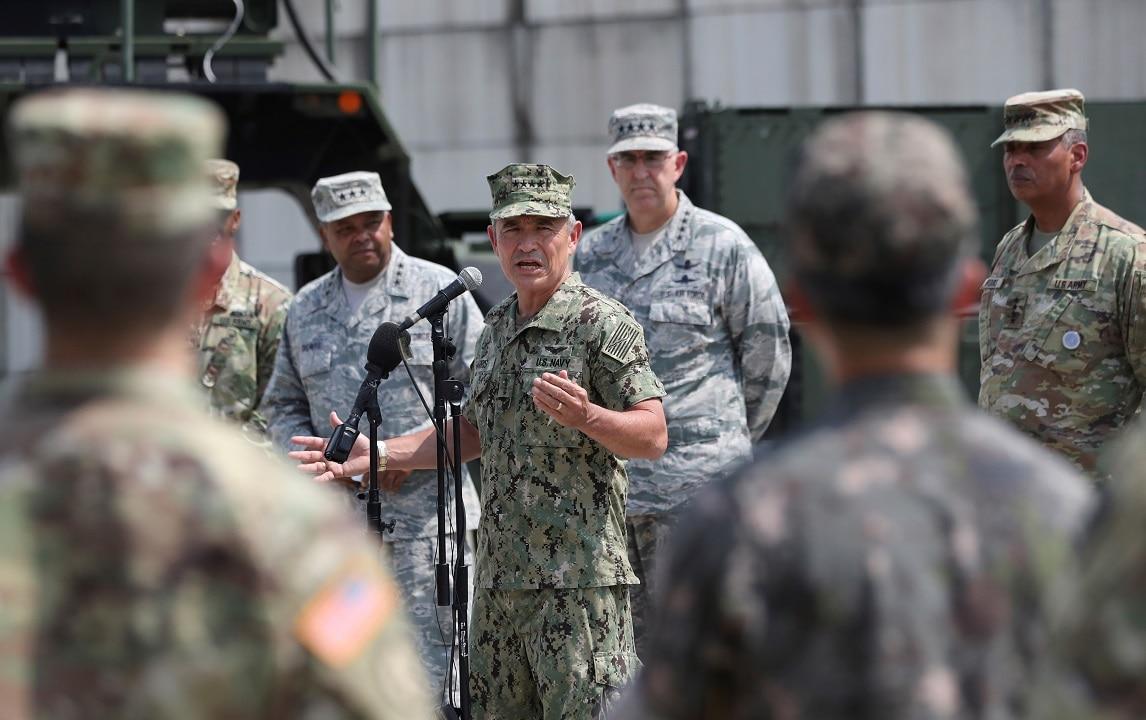 August 22, 2017: Harry Harris at Osan Air Base in Pyeongtaek.