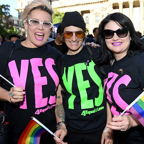 Marriage equality campaigners and supporters take part in a victory march at the State Library in Melbourne, Friday, December 8