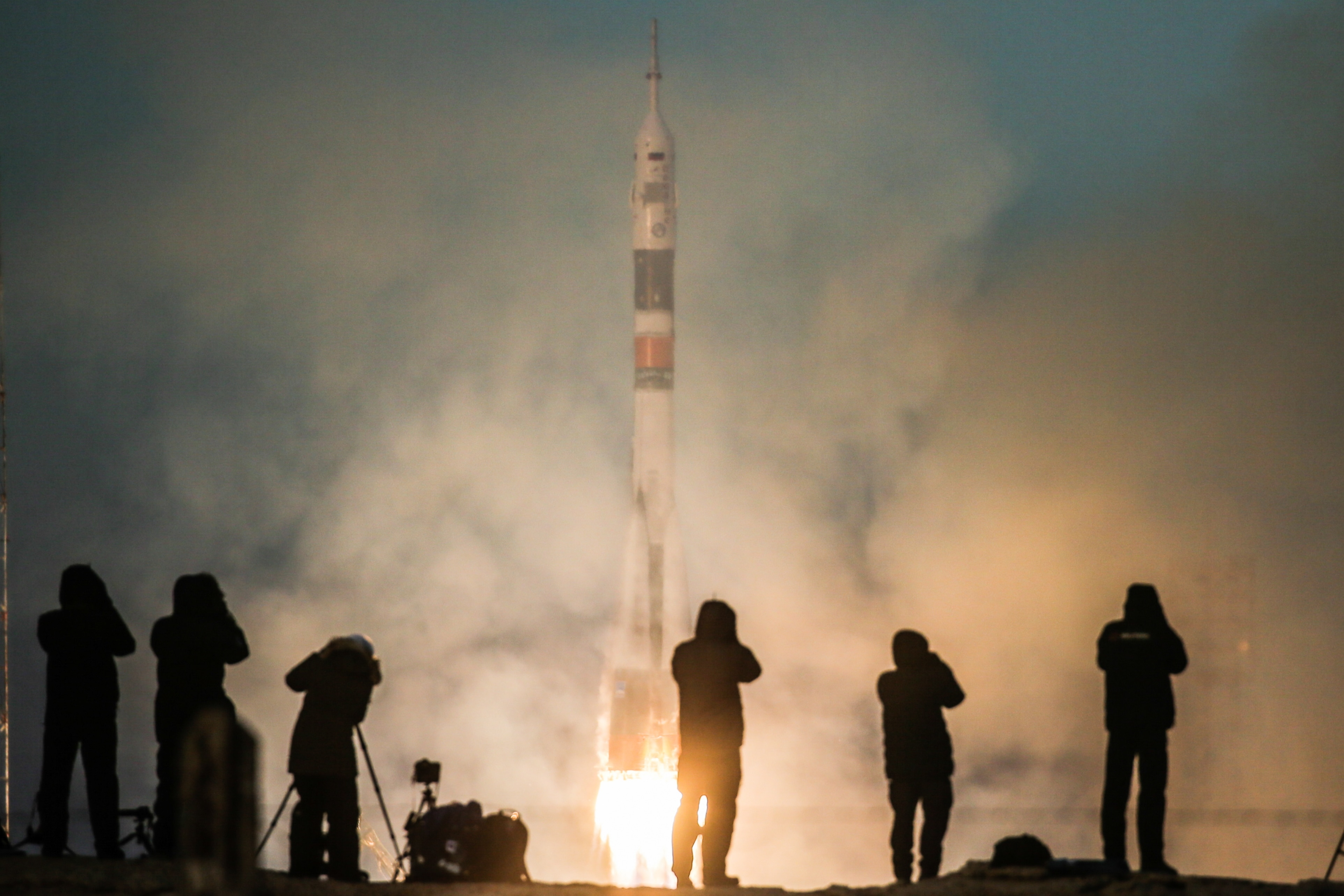 Soyuz-FG rocket carrying Soyuz MS-11 spacecraft launched from Baikonur Cosmodrome