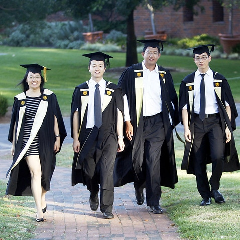 Chinese students at a graduation in Perth