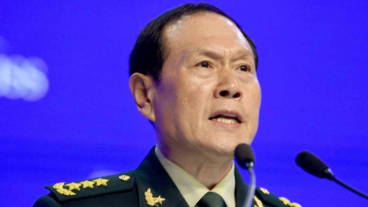 Chinese Defense Minister General Wei Fenghe makes a speech at the Asia Security Summit in Singapore.