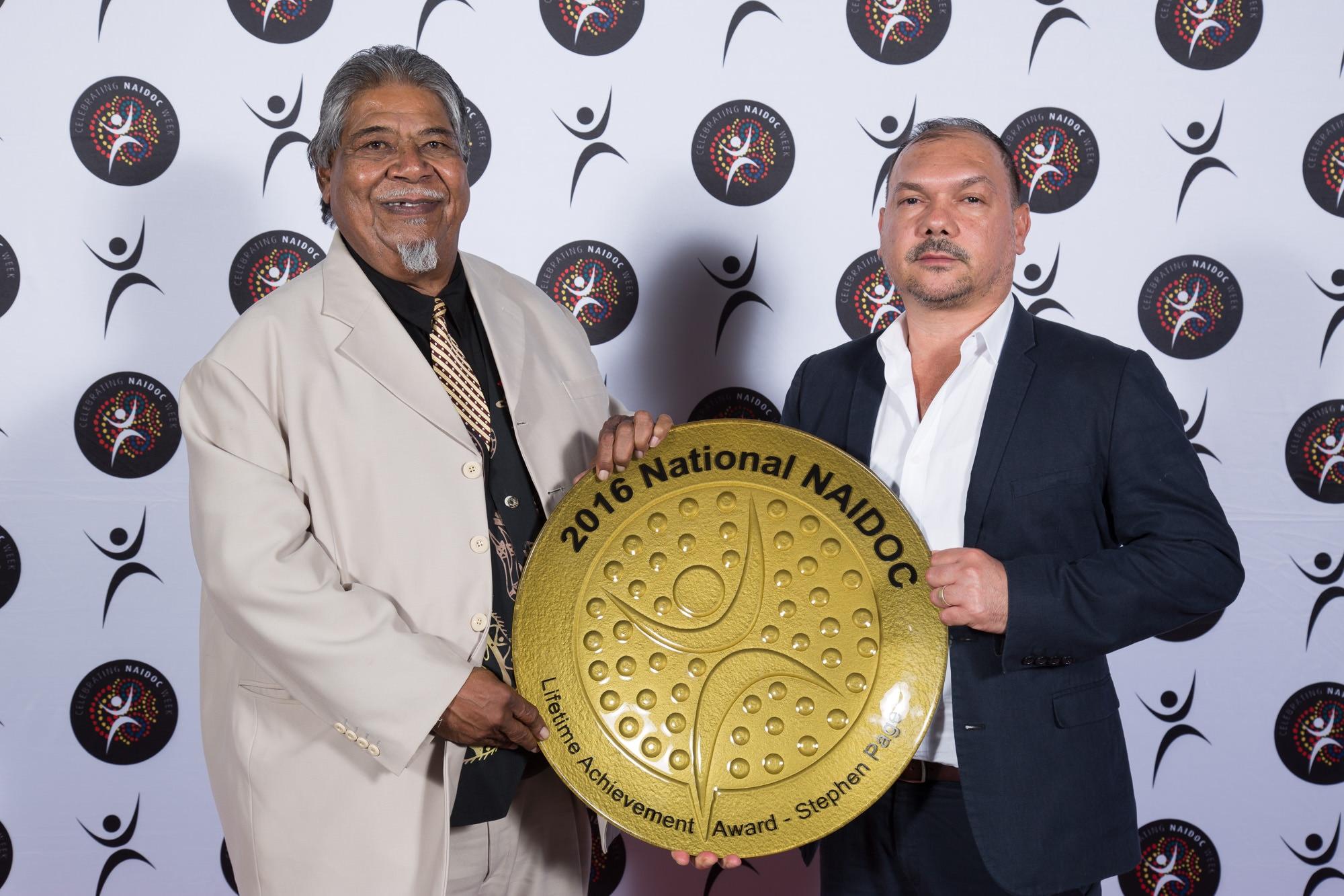 NAIDOC Awards 2016 Lifetime Achievement award recipient, Stephen Page.