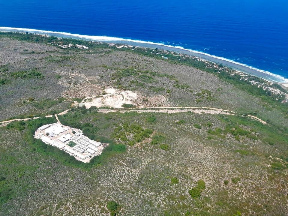 An aerial photo of the island of Nauru.