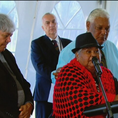 Lillian Williams 'Aunty Lil' gives the Welcome to Country at Yamba court (SBS).