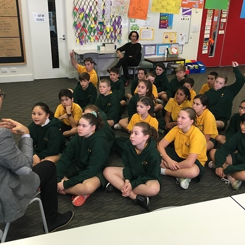 Program facilitator Brett Kaye with students at Ormond Primary School in Melbourne