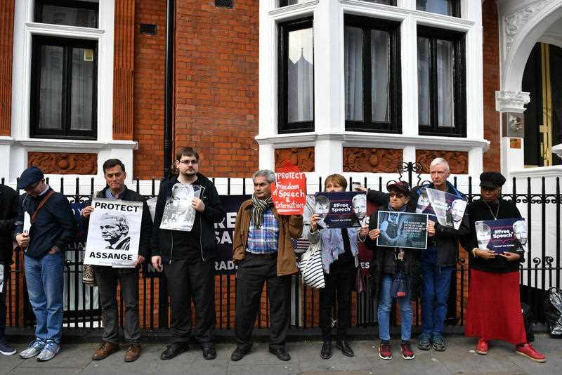 Julian Assange supporters gather in London.