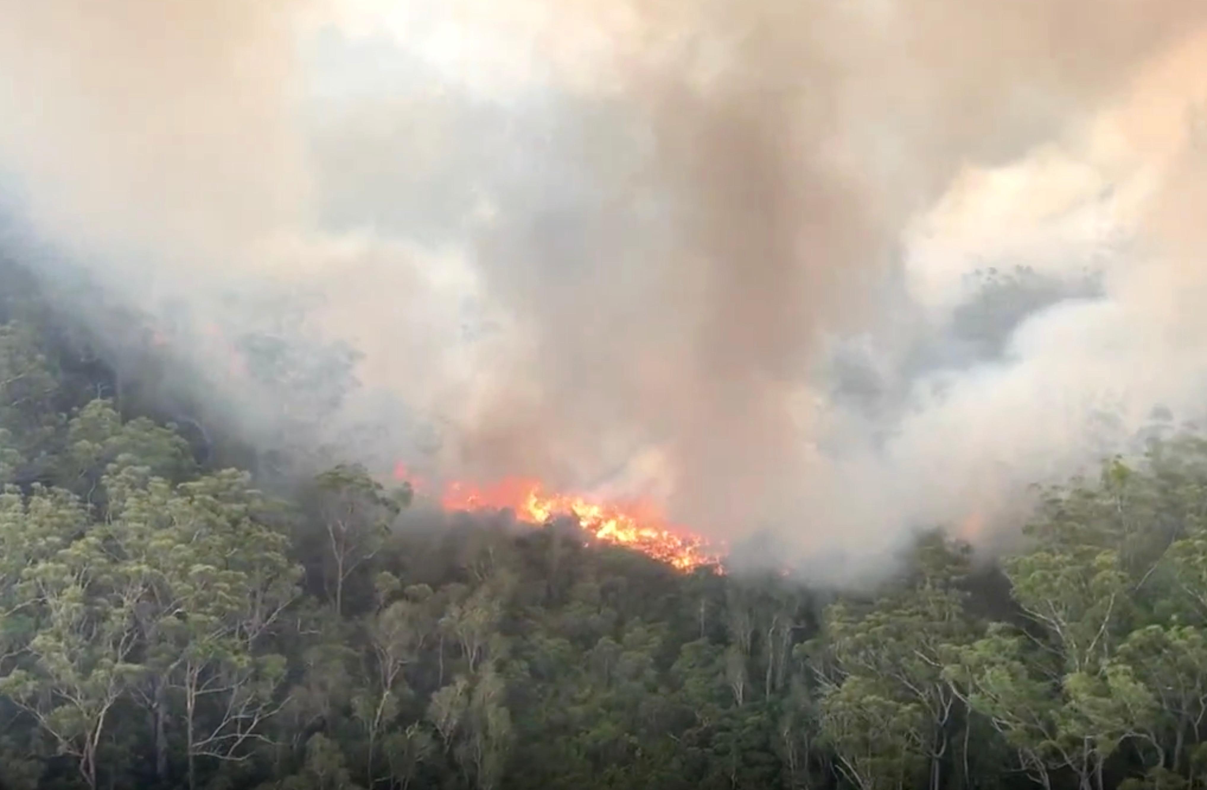 An aerial photo of the K'gari-Fraser Island fire captured on Wednesday, 2 December, 2020.