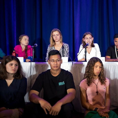 Alexandria Villasenor speaks as she and 15 other children from across the world present an official human rights complaint on the climate crisis.