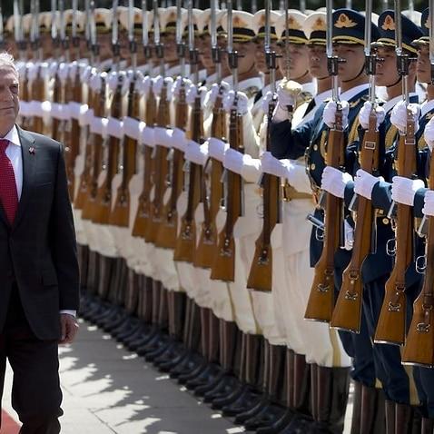 US Defence Secretary Jim Mattis reviews a Chinese honour guard
