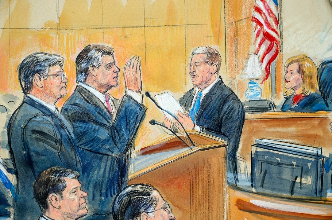 Sept 14, 2018: Courtroom sketch of former Donald Trump's campaign chairman Paul Manafort at federal court in Washington.