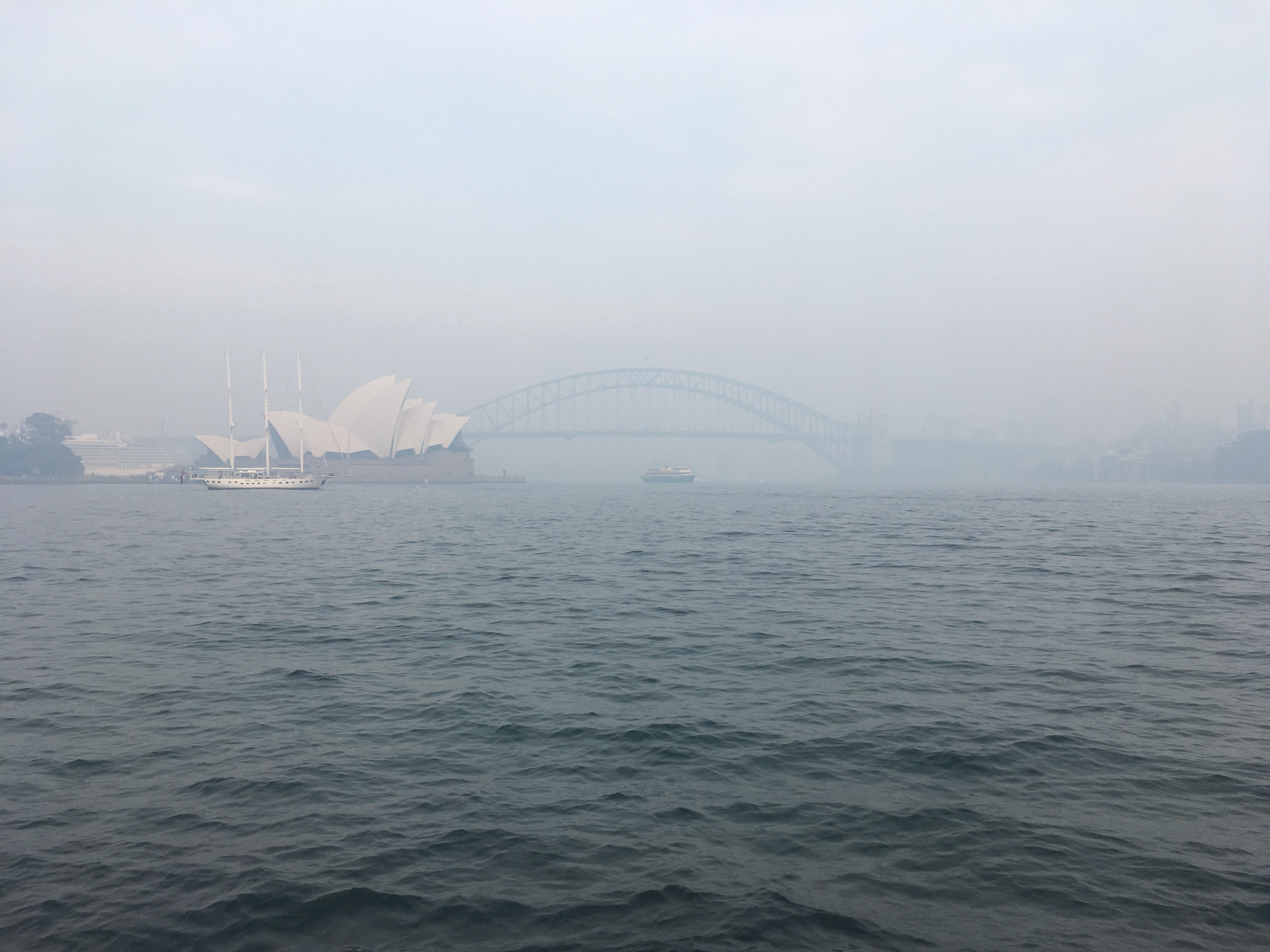 Smoke from approximately 50 fires in NSW blanketed Sydney Harbour on Thursday morning.