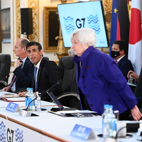 British Chancellor of the Exchequer Rishi Sunak (2-R) welcomes G7 Finance Ministers to Lancaster House during the G7 meeting in London, Britain, 4 June 2021.