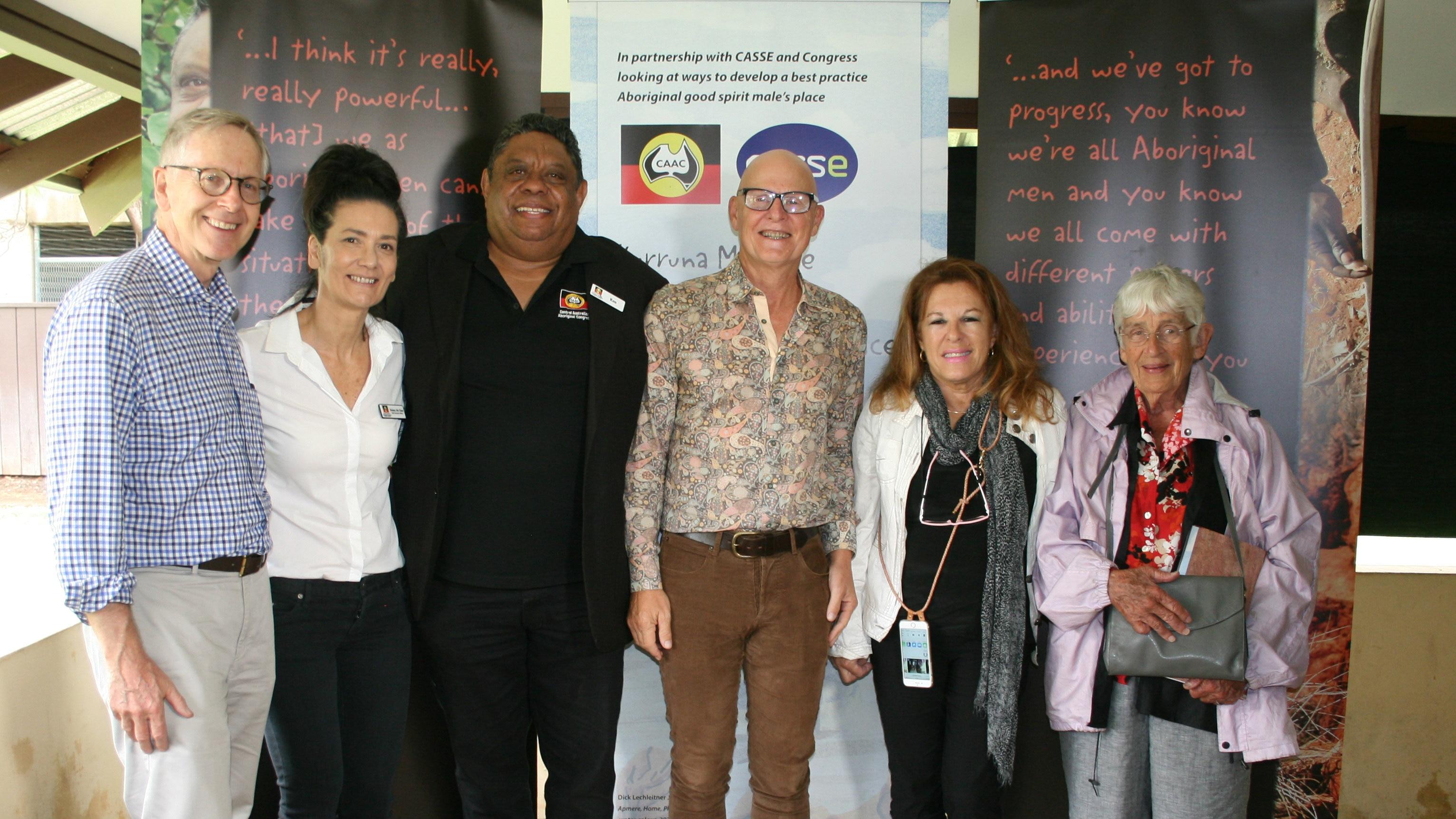 From left to right: Robert Springall (CASSE); Pamela Nathan (CASSE); Ken Lechleitner; Dr John Boffa (CAAC); Donna Ah Chee (CAAC) Anne Kantor AO (CAAC) (CASSE)