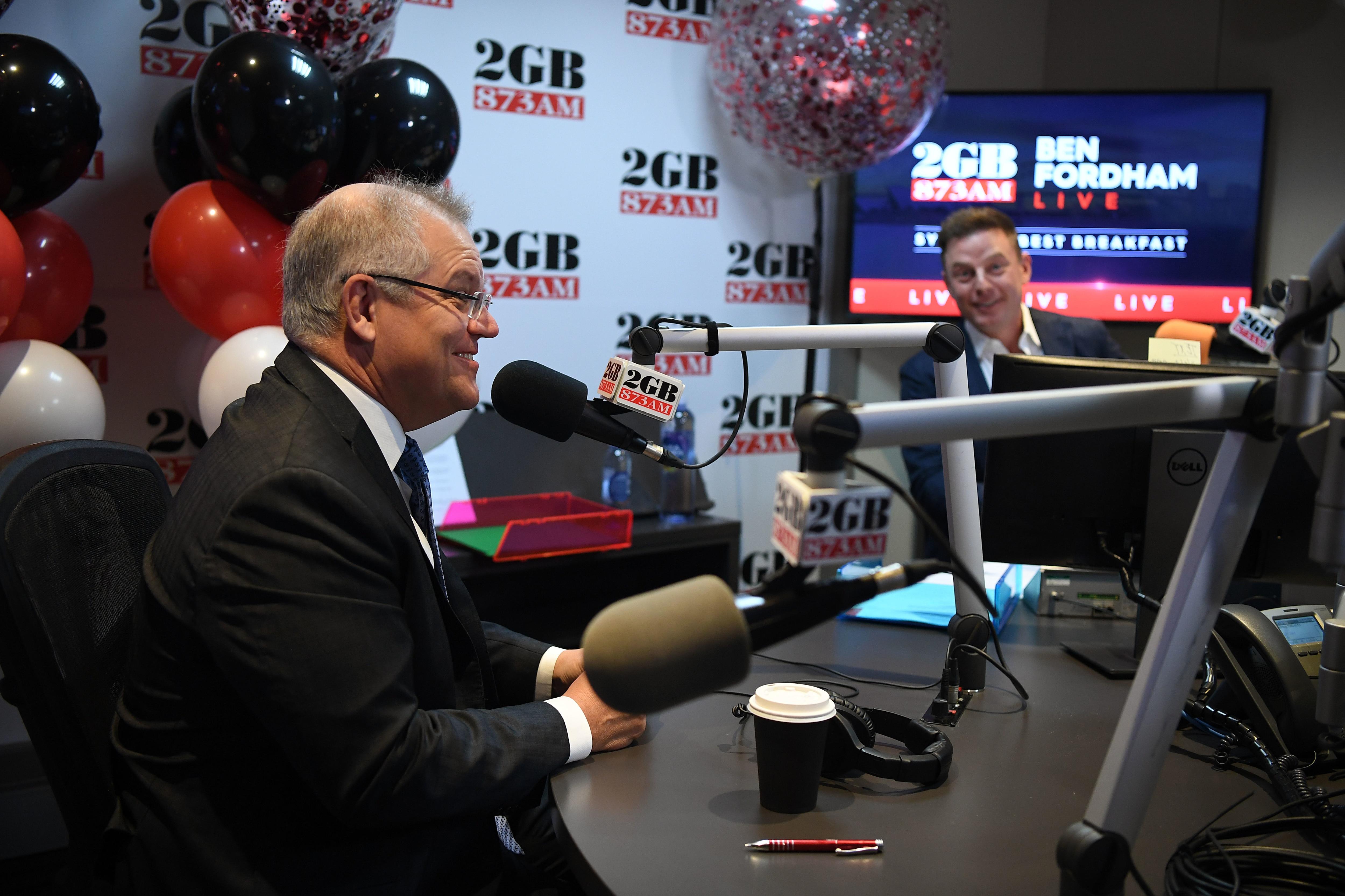 Prime Minister Scott Morrison in the 2GB studio.
