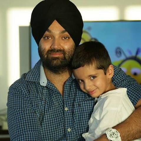 Adelaide based Jasjit Virdi and his son, waiting for the visa to come through