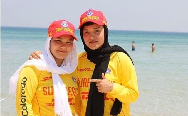 Sisters Setara and Mahdia Rezaei were both scared of water when they arrived in Australia.